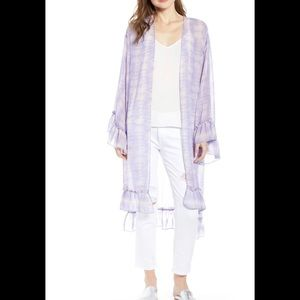Trouve sheer purple  tie dye ruffled duster